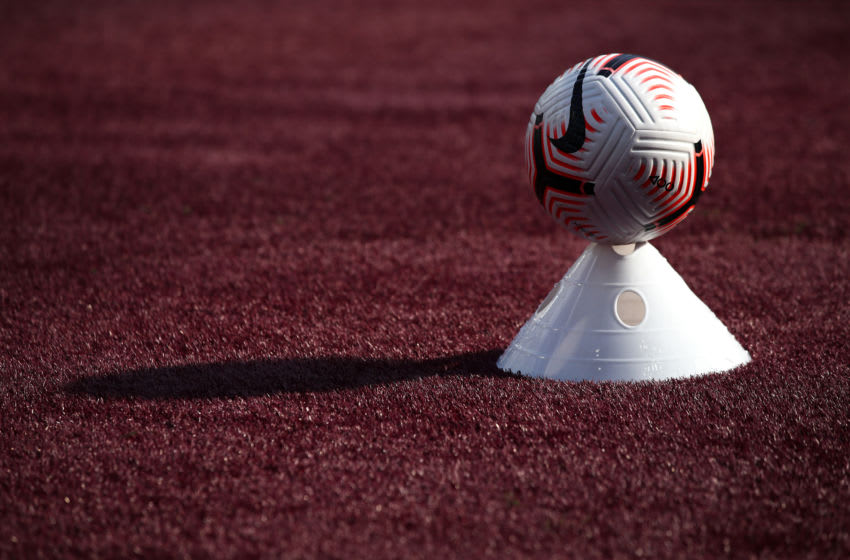 LONDON, ENGLAND - SEPTEMBER 05: Detail of the Nike Flight Premier League football sitting in a training cone during the Pre-Season Friendly between West Ham United and AFC Bournemouth at London Stadium on September 05, 2020 in London, England. (Photo by Marc Atkins/Getty Images)