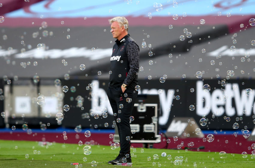 LONDON, ENGLAND - SEPTEMBER 05: West Ham manager David Moyes surrounded by bubbles during the Pre-Season Friendly between West Ham United and AFC Bournemouth at London Stadium on September 05, 2020 in London, England. (Photo by Marc Atkins/Getty Images)