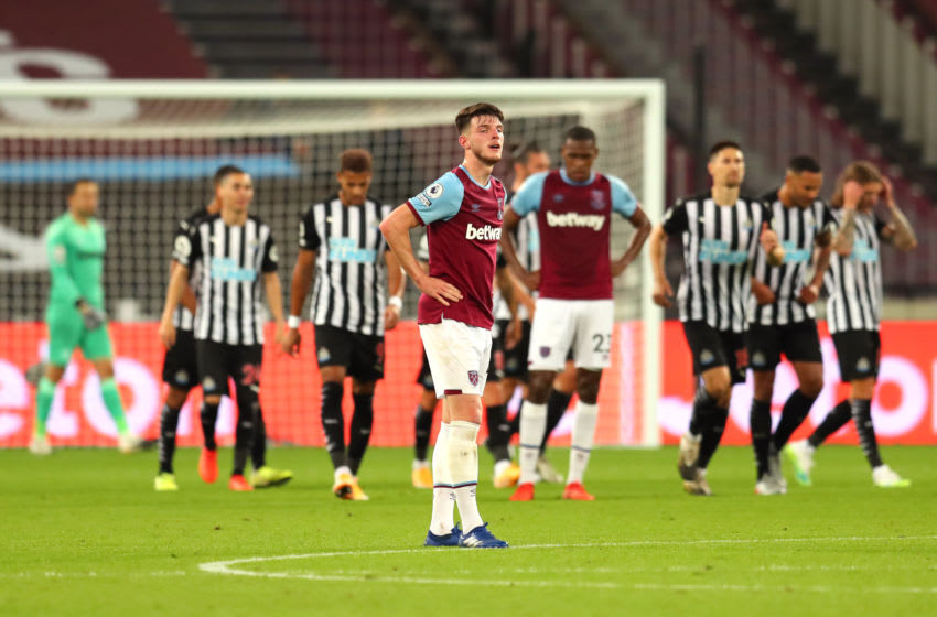 LONDON, ENGLAND - SEPTEMBER 12: Declan Rice of West Ham United looks dejected after conceding during the Premier League match between West Ham United and Newcastle United at London Stadium on September 12, 2020 in London, England. (Photo by Catherine Ivill/Getty Images)