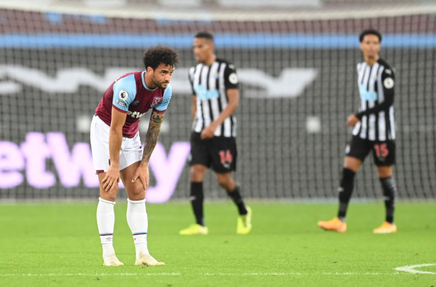 LONDON, ENGLAND - SEPTEMBER 12: Felipe Anderson of West Ham United reacts during the Premier League match between West Ham United and Newcastle United at London Stadium on September 12, 2020 in London, England. (Photo by Michael Regan/Getty Images)