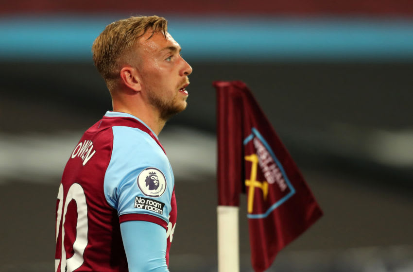 LONDON, ENGLAND - SEPTEMBER 12: Jarrod Brown of West Ham United with a ' no room for racism ' badge on his shirt during the Premier League match between West Ham United and Newcastle United at London Stadium on September 12, 2020 in London, England. (Photo by Catherine Ivill/Getty Images)