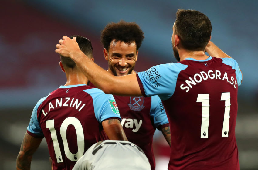 LONDON, ENGLAND - SEPTEMBER 15: Felipe Anderson of West Ham United celebrates after scoring his team's third goal during the Carabao Cup Second Round Match between West Ham United and Charlton Athletic at London Stadium on September 15, 2020 in London, England. (Photo by Clive Rose/Getty Images)