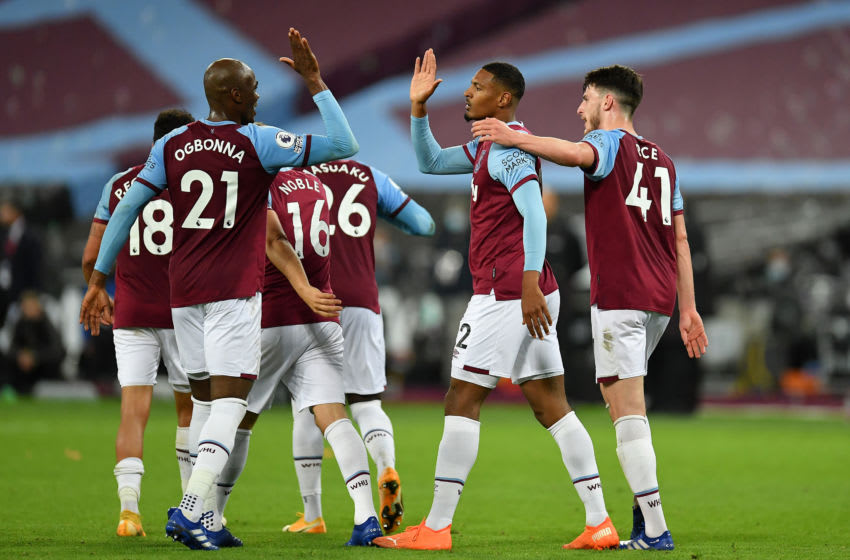 LONDON, ENGLAND - SEPTEMBER 27: Sebastien Haller of West Ham United celebrates scoring the 4th goal with Angelo Ogbonna of West Ham United during the Premier League match between West Ham United and Wolverhampton Wanderers at London Stadium on September 27, 2020 in London, England. Sporting stadiums around the UK remain under strict restrictions due to the Coronavirus Pandemic as Government social distancing laws prohibit fans inside venues resulting in games being played behind closed doors. (Photo by Justin Setterfield/Getty Images )