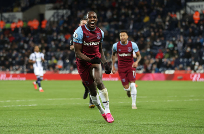 Michail Antonio of West Ham United celebrates after scoring. (Photo by Molly Darlington - Pool/Getty Images)