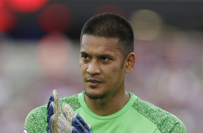 Alphonse Areola of West Ham United during the pre-season friendly. (Photo by Henry Browne/Getty Images)