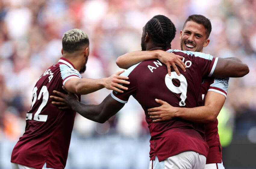 Pablo Fornals of West Ham United celebrates with teammates Said Benrahma and Michail Antonio. (Photo by Eddie Keogh/Getty Images)