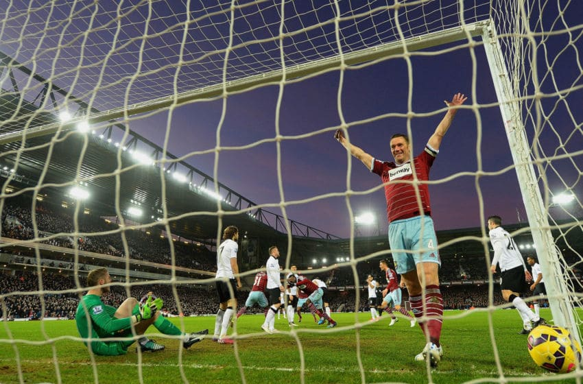 LONDON, ENGLAND - FEBRUARY 08: Kevin Nolan of West Ham celebrates after Cheikhou Kouyate of West Ham scored the opening goal past David De Gea of Manchester United during the Barclays Premier League match between West Ham United and Manchester United at Boleyn Ground on February 8, 2015 in London, England. (Photo by Mike Hewitt/Getty Images)