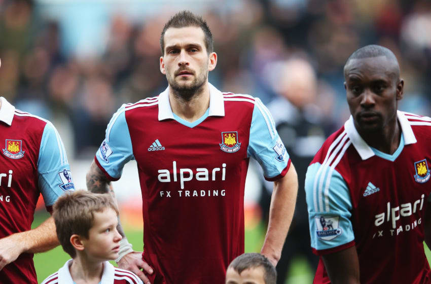 LONDON, ENGLAND - JANUARY 18: Roger Johnson of West Ham United lines up before the Barclays Premier League match between West Ham United and Newcastle United at the Boleyn Ground on January 18, 2014 in London, England. (Photo by Julian Finney/Getty Images)