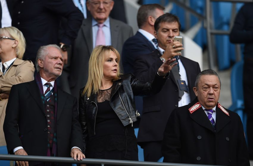 West Ham United's English Chairman David Gold (front row L) and West Ham United's Welsh Chairman David Sullivan (Photo credit should read PAUL ELLIS/AFP via Getty Images)