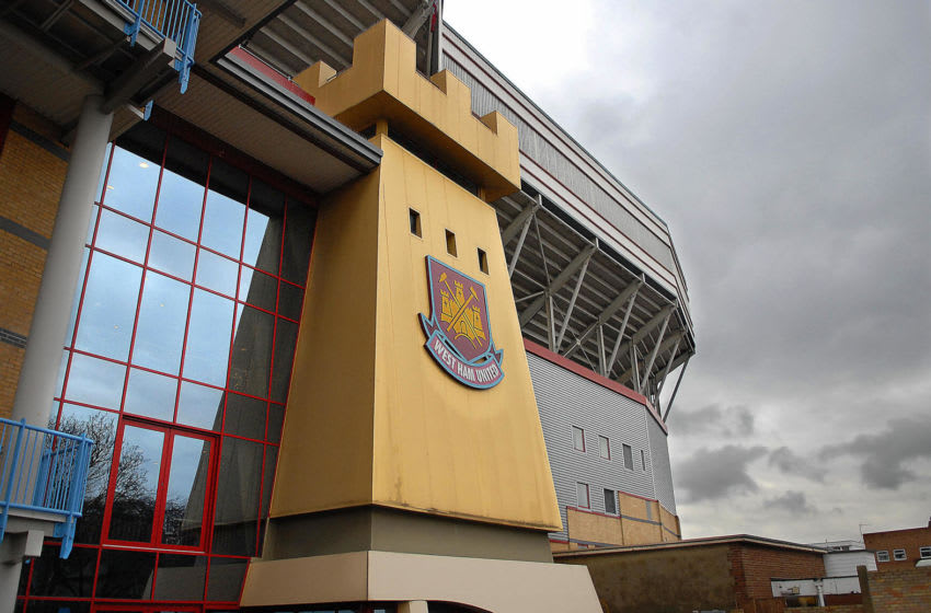 LONDON, United Kingdom: A picture taken 11 December 2006 in east London shows the front of the West Ham United Football Club stadium. Struggling English Premiership side West Ham sacked manager Alan Pardew Monday. The club is in 18th place in the Premiership after Saturday's 4-0 thrashing at Bolton with only three points separating them from bottom club Watford. The Hammers have lost five of their last six Premiership games including both matches since Icelandic businessman Magnusson became chairman a week ago. AFP PHOTO/BERTRAND LANGLOIS (Photo credit should read BERTRAND LANGLOIS/AFP via Getty Images)