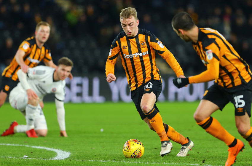 HULL, ENGLAND - FEBRUARY 23: Jarrod Bowen of Hull City makes an attacking run during the Sky Bet Championship match between Hull City and Sheffield United at KCOM Stadium on February 23, 2018 in Hull, England. (Photo by Ashley Allen/Getty Images)