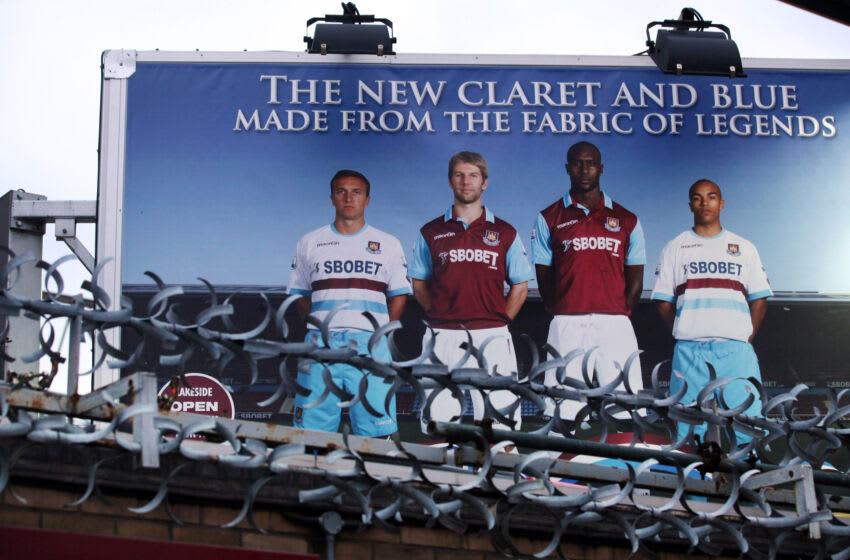 A billboard advertising a new West Ham United kit. (Photo by Oli Scarff/Getty Images)