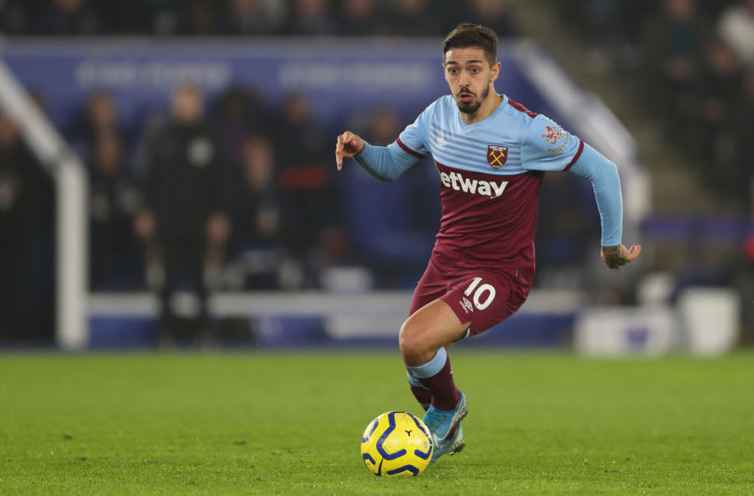 LEICESTER, ENGLAND - JANUARY 22: Manuel Lanzini of West Ham United during the Premier League match between Leicester City and West Ham United at The King Power Stadium on January 22, 2020 in Leicester, United Kingdom. (Photo by James Williamson - AMA/Getty Images)