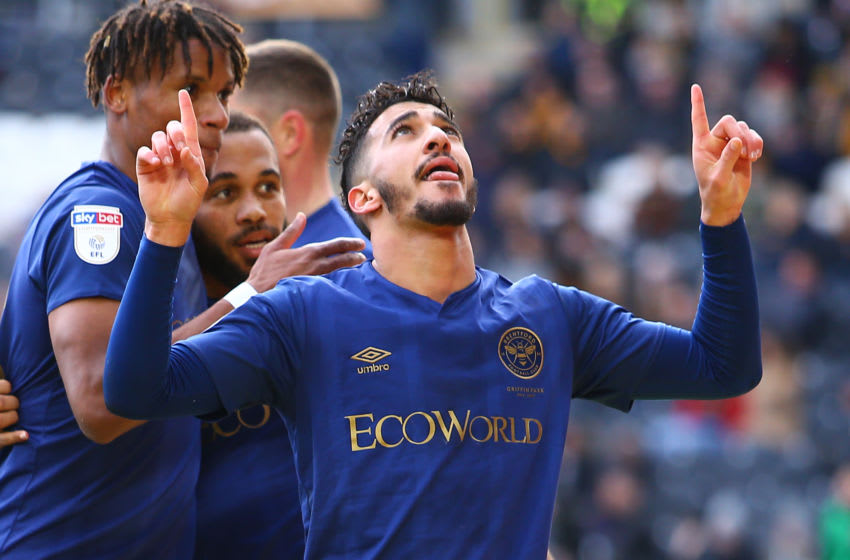 HULL, ENGLAND - FEBRUARY 01: Saïd Benrahma of Brentford FC celebrates scoring a goal during the Sky Bet Championship match between Hull City and Brentford at KCOM Stadium on February 01, 2020 in Hull, England. (Photo by Ashley Allen/Getty Images)
