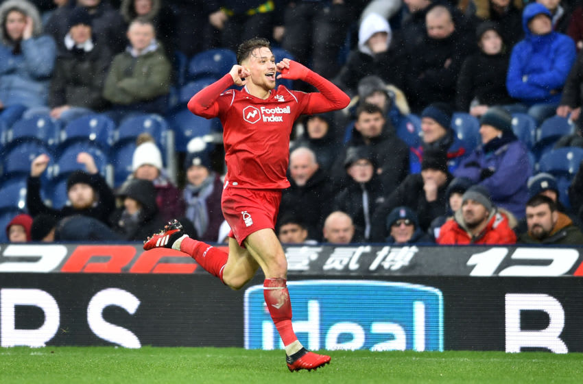 WEST BROMWICH, ENGLAND - FEBRUARY 15: Matty Cash of Nottingham Forest celebrates after scoring his team's second goal during the Sky Bet Championship match between West Bromwich Albion and Nottingham Forest at The Hawthorns on February 15, 2020 in West Bromwich, England. (Photo by Nathan Stirk/Getty Images)