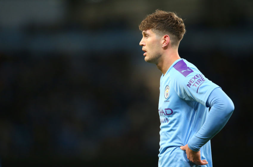 MANCHESTER, ENGLAND - FEBRUARY 19: John Stones of Manchester City looks on during the Premier League match between Manchester City and West Ham United at Etihad Stadium on February 19, 2020 in Manchester, United Kingdom. (Photo by James Gill - Danehouse/Getty Images)