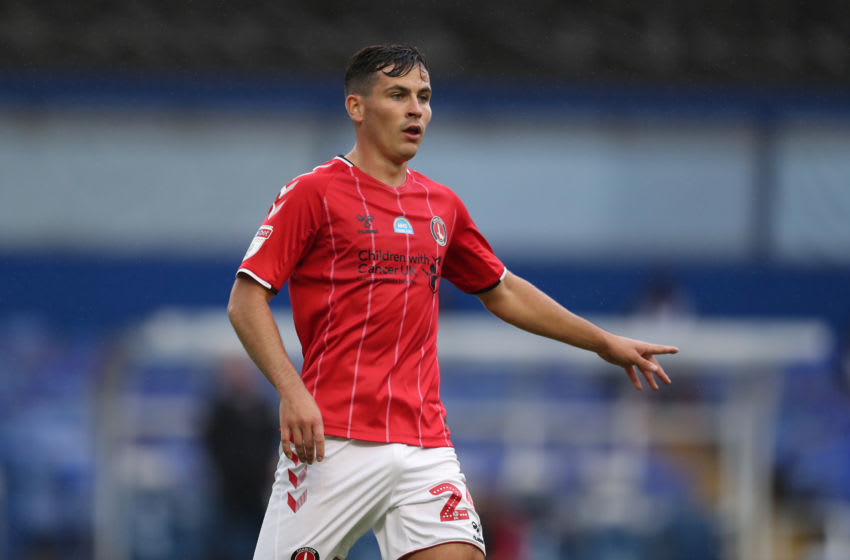 BIRMINGHAM, ENGLAND - JULY 15: Josh Cullen of Charlton Athletic during the Sky Bet Championship match between Birmingham City and Charlton Athletic at St Andrew's Trillion Trophy Stadium on July 15, 2020 in Birmingham, England. (Photo by James Williamson - AMA/Getty Images)