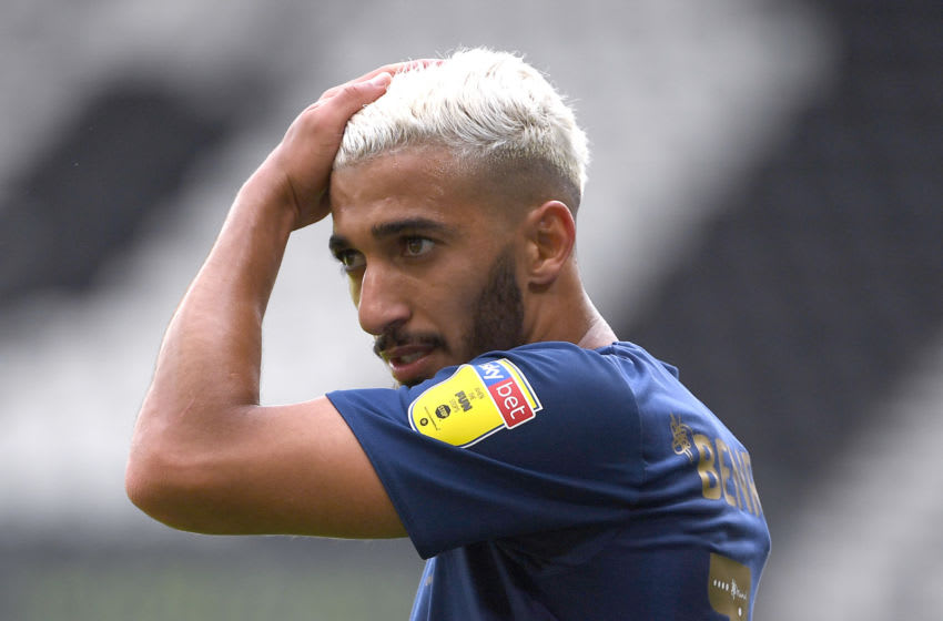 DERBY, ENGLAND - JULY 11: Double goal scorer, Saïd Benrahma of Brentford looks on during the Sky Bet Championship match between Derby County and Brentford at Pride Park Stadium on July 11, 2020 in Derby, England. Football Stadiums around Europe remain empty due to the Coronavirus Pandemic as Government social distancing laws prohibit fans inside venues resulting in all fixtures being played behind closed doors.​ (Photo by Ross Kinnaird/Getty Images)