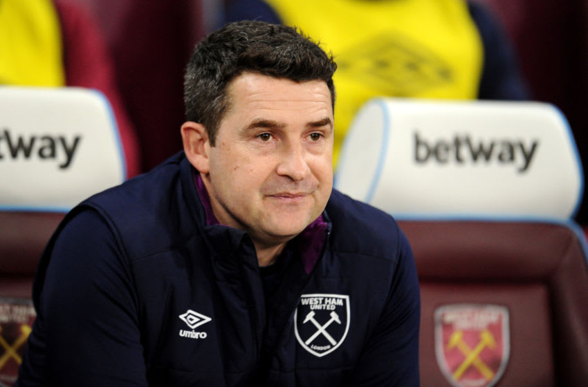 LONDON, ENGLAND - FEBRUARY 17: Dimitri Halajko, Manager of West Ham United U23 looks on prior to the Premier League 2 match between West Ham United U23 and Stoke City U23 at London Stadium on February 17, 2020 in London, England. (Photo by Alex Burstow/Getty Images)