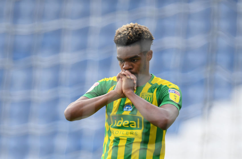 HUDDERSFIELD, ENGLAND - JULY 17: Grady Diangana of West Bromwich Albion reacts during the Sky Bet Championship match between Huddersfield Town and West Bromwich Albion at John Smith's Stadium on July 17, 2020 in Huddersfield, England. Football Stadiums around Europe remain empty due to the Coronavirus Pandemic as Government social distancing laws prohibit fans inside venues resulting in all fixtures being played behind closed doors. (Photo by Michael Regan/Getty Images)