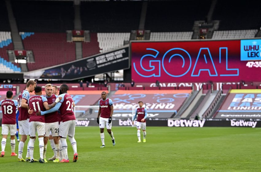 West Ham players celebrate important win