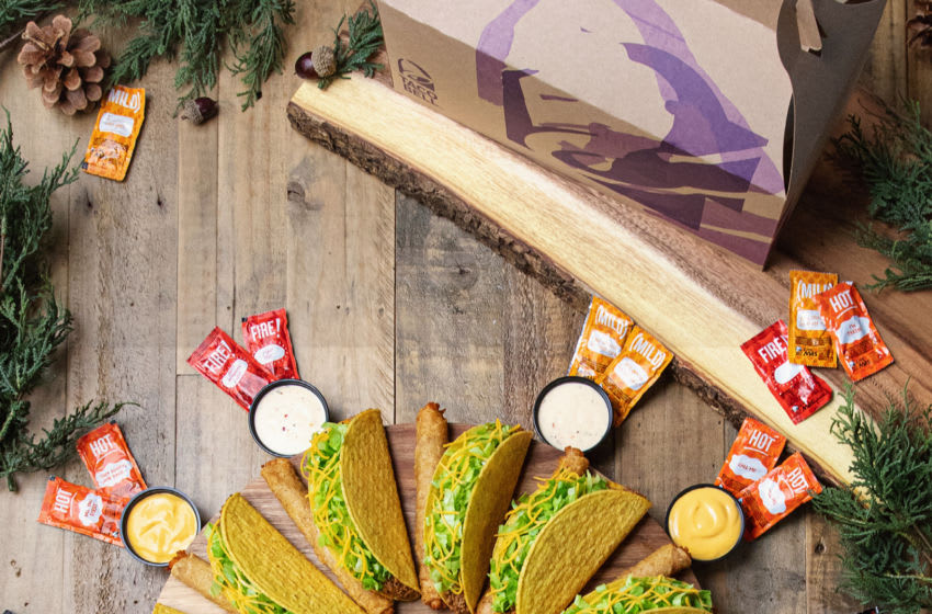 Taco Bell's beloved Rolled Chicken Tacos get the Party Pack treatment, making it the ultimate Friendsgiving dish, available for delivery via Grubhub® from participating Taco Bell locations.. Photo: Rolled Chicken Tacos Wreath.. Image Courtesy Taco Bell