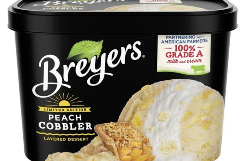 Breyers Limited edition Layered Dessert Peach Cobbler ice cream. Image Courtesy Breyers