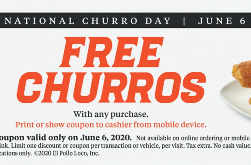 El Pollo Loco National Churros Day coupon. Image courtesy El Pollo Loco