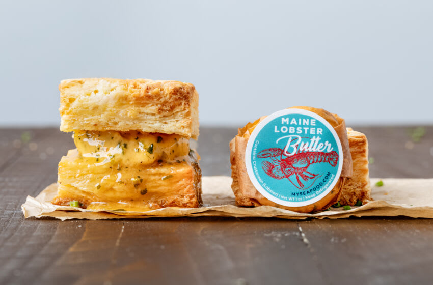 Maine Lobster Butter with biscuits. Image courtesy of the Maine Lobster Marketing Collaborative