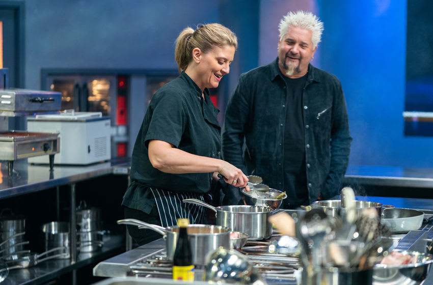 Competitor Amanda Freitag with host Guy Fieri, as seen on Tournament of Champions, Season 1. photo provided by Food Network