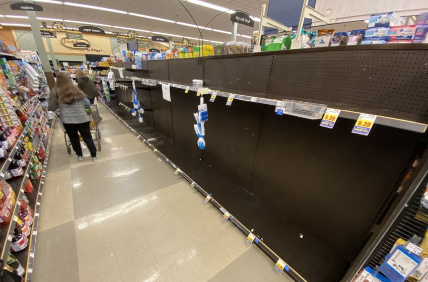 GROSSE ILE, MICHIGAN - MARCH 13: Empty shelves are found at a Kroger grocery store on March 13, 2020 in Grosse Ile, Michigan. Some Americans are stocking up on food, toilet paper, water and other items after the World Health Organization (WHO) declared Coronavirus (COVID-19) a pandemic. (Photo by Gregory Shamus/Getty Images)
