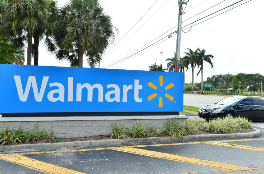 A view outside a Walmart retail store is seen on July 16, 2020 in Pembroke Pines, Florida. (Photo by Johnny Louis/Getty Images)
