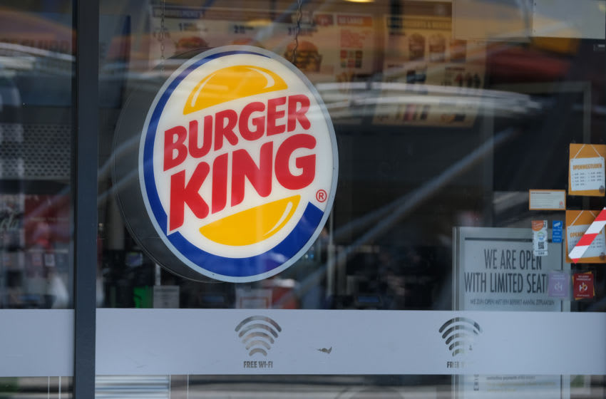 A logo of Burger King is pictured outside its chain restaurant on June 9, 2020 in Leiden, Netherlands. (Photo by Yuriko Nakao/Getty Images)
