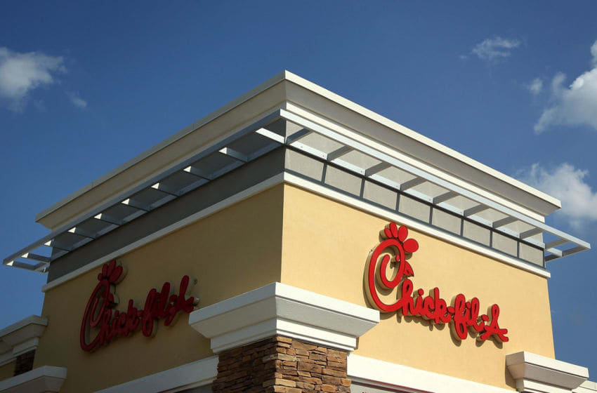 SPRINGFIELD, VA - JULY 26: The signs of a Chick-fil-A are seen July 26, 2012 in Springfield, Virginia. The recent comments on supporting traditional marriage which made by Chick-fil-A CEO Dan Cathy has sparked a big debate on the issue. (Photo by Alex Wong/Getty Images)