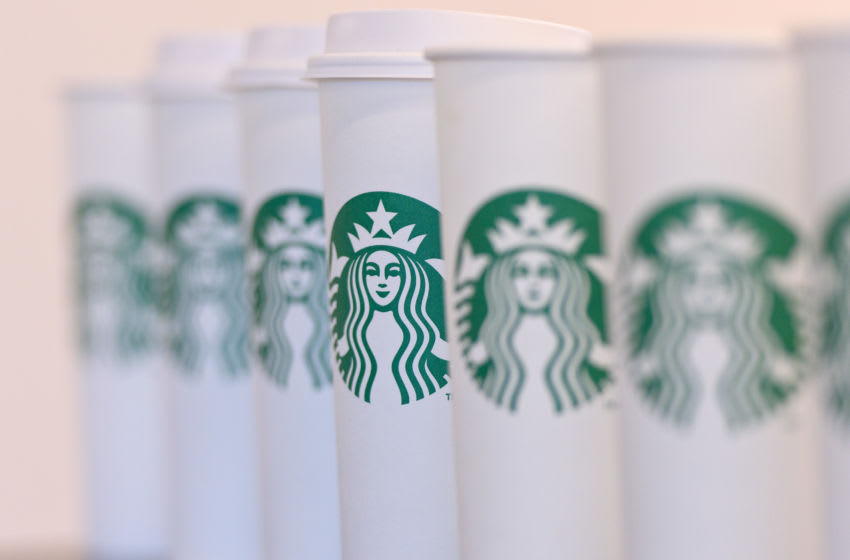 LONDON, ENGLAND - FEBRUARY 18: A collection of venti sized Starbucks take away cups on February 18, 2016 in London, England. Yesterday Action on Sugar announced the results of tests on 131 hot drinks which showed that some contained over 20 teaspoons of sugar. The NHS recommends a maximum daily intake of seven teaspoons or 30 grams of sugar. (Photo by Ben Pruchnie/Getty Images)