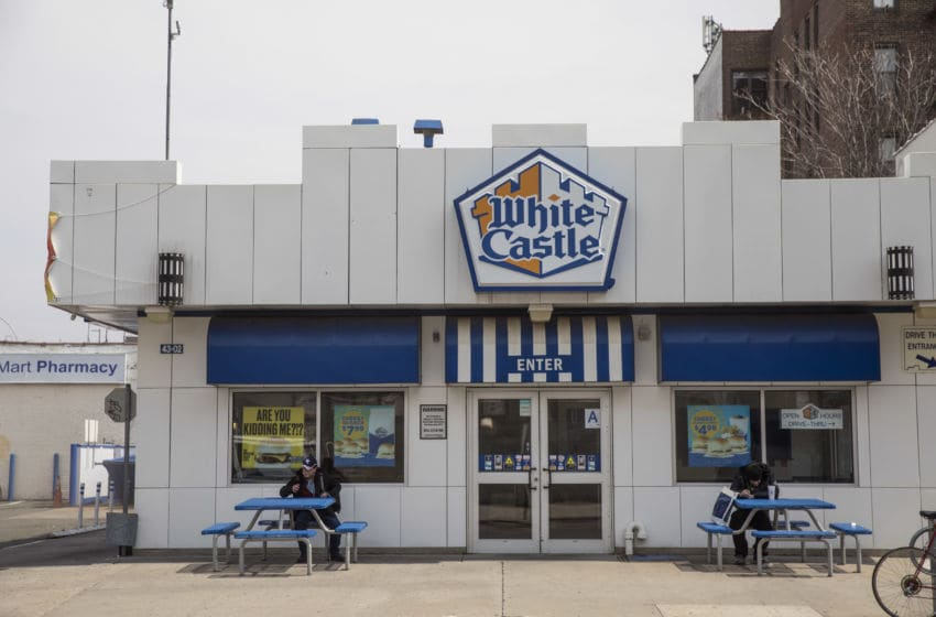 NEW YORK, NY - APRIL 12: An exterior view of a White Castle restaurant, April 12, 2018 in the Queens borough of New York City. White Castle has introduced the meatless 'Impossible Slider' burger. The burger, which sell for $1.99, are about twice the size of White Castle's regular sliders. The patties, made primarily of wheat protein and potato, are the first plant-based burgers sold in an American quick-serve restaurant. (Photo by Drew Angerer/Getty Images)