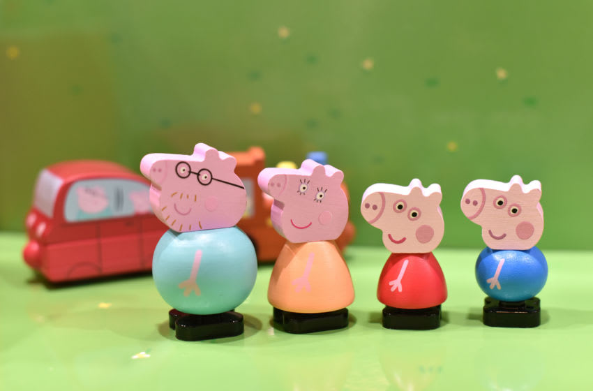 LONDON, ENGLAND - JANUARY 21: A Peppa Pig and friends wooden figures which are made from environmentally responsible FSCE wood and uses less plastic and packaging on display during the Toy Fair at Olympia London on January 21, 2020 in London, England. The Toy Fair is the UK's largest dedicated toy, game and hobby trade show welcoming more than 270 companies exhibiting thousands of products. (Photo by John Keeble/Getty Images)