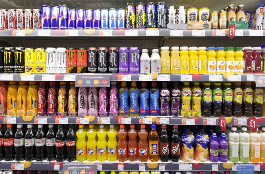CARDIFF, UNITED KINGDOM - SEPTEMBER 21: Fizzy, sugary drinks on a supermarket shelf on September 21, 2017 in Cardiff, United Kingdom. (Photo by Matthew Horwood/Getty Images)