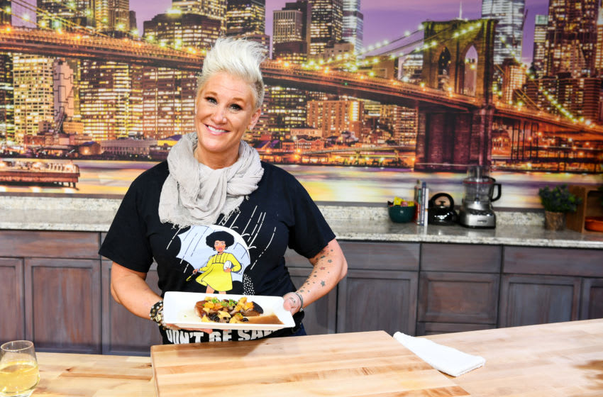 NEW YORK, NY - OCTOBER 13: Chef Anne Burrell presents onstage during Food Network & Cooking Channel New York City Wine & Food Festival Presented by Capital One Grand Tasting presented by ShopRite featuring Culinary Demonstrations presented by Capital One at Pier 94 on October 13, 2018 in New York City. (Photo by Dave Kotinsky/Getty Images for NYCWFF)