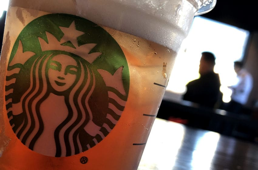 SAN FRANCISCO, CALIFORNIA - JANUARY 24: The Starbucks logo is displayed on a cup at a Starbucks Coffee shop on January 24, 2019 in San Francisco, California. Starbucks will report first quarter earnings after today's closing bell. (Photo by Justin Sullivan/Getty Images)