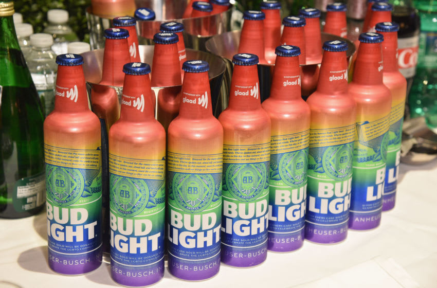 NEW YORK, NEW YORK - MAY 04: A view of rainbow bottles of Bud Light during the 30th Annual GLAAD Media Awards New York at New York Hilton Midtown on May 04, 2019 in New York City. (Photo by Bryan Bedder/Getty Images for GLAAD)