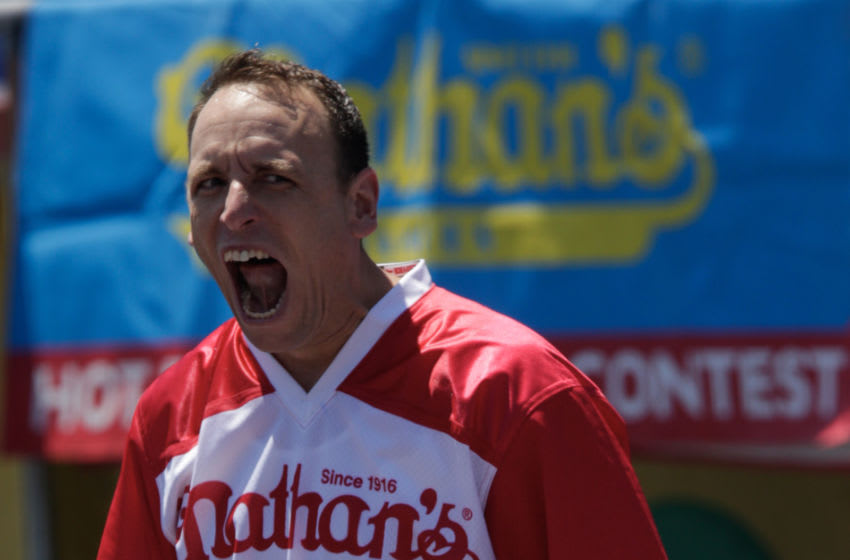 NEW YORK, NY - JULY 04: Joey Chestnut reacts before the men's hot dog eating contest on July 4, 2019 in New York City. Nathan's held its first hot dog eating contest in Coney Island on July 4, 1916. (Photo by Kena Betancur/Getty Images)