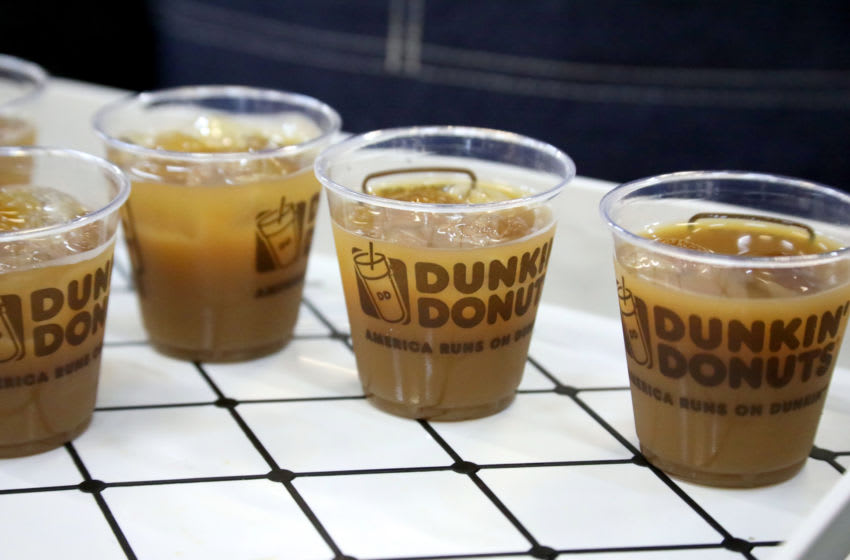 NEW YORK, NEW YORK - OCTOBER 12: A view of Dunkin Donuts Coffee on display at the Grand Tasting presented by ShopRite featuring Culinary Demonstrations at The IKEA Kitchen presented by Capital One at Pier 94 on October 12, 2019 in New York City. (Photo by Rob Kim/Getty Images for NYCWFF)