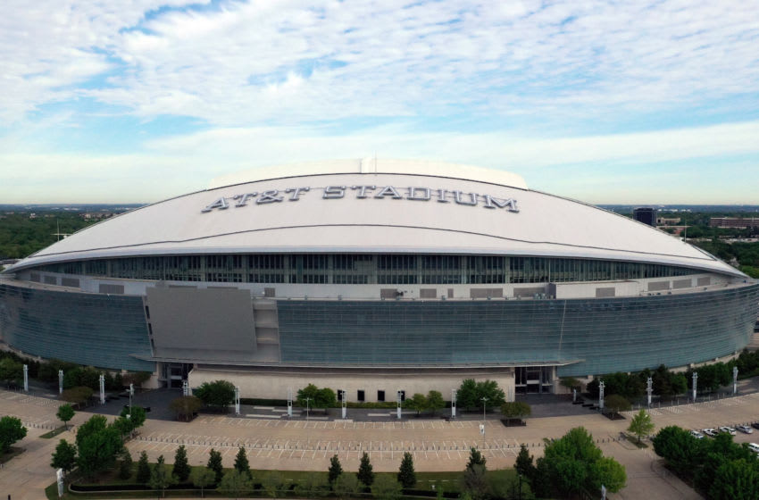 ARLINGTON, TEXAS - APRIL 01: An aerial drone view of AT&T Stadium, where the Dallas Cowboys NFL football team plays, on April 01, 2020 in Arlington, Texas. The NBA, NHL, NCAA and MLB have all announced cancellations or postponements of events because of COVID-19. (Photo by Tom Pennington/Getty Images)