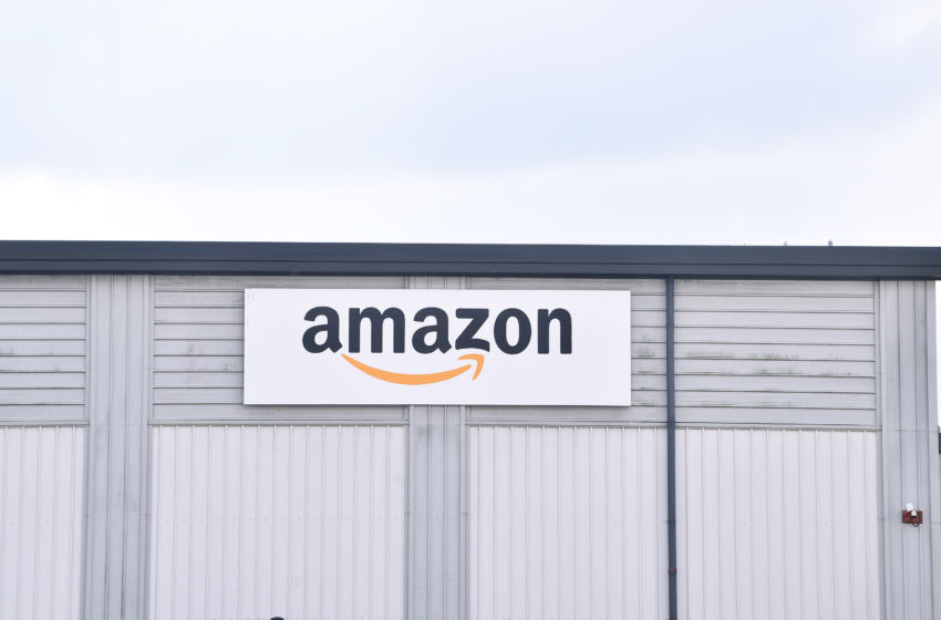 STOKE-ON-TRENT - OCTOBER 14: A general view outside Amazon Warehouse on October 14, 2020 in Stoke-on-Trent Staffordshire . (Photo by Nathan Stirk/Getty Images)