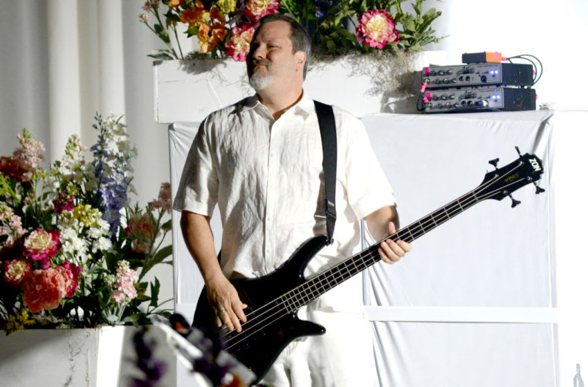 SAN FRANCISCO, CA - APRIL 20: Billy Gould of Faith No More performs during the band's