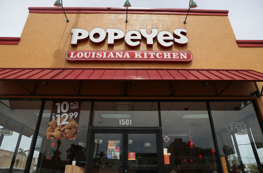 MIAMI, FL - FEBRUARY 21: A Popeyes restaurant is seen on February 21, 2017 in Miami, Florida. Burger King and Tim Horton's owner Restaurant Brands International has announced plans on buying Popeyes Louisiana Kitchen in a deal valued at $1.8 billion. (Photo by Joe Raedle/Getty Images)