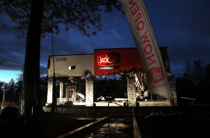 PARADISE, CA - NOVEMBER 21: A view of a Jack in the Box restaurant that was destroyed by the Camp Fire on November 21, 2018 in Paradise, California. Fueled by high winds and low humidity the Camp Fire ripped through the town of Paradise charring over 150,000 acres, killed at least 83 people and has destroyed over 18,000 homes and businesses. The fire is currently at 85 percent containment and hundreds of people still remain missing. (Photo by Justin Sullivan/Getty Images)