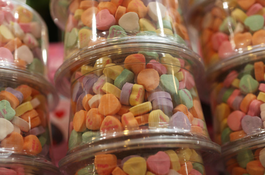 WILTON MANORS, FLORIDA - JANUARY 29: Sweetheart candy hearts are seen on the shelf at the To The Moon Marketplace on January 29, 2019 in Wilton Manors, Florida. William Newcomb who works at the store said, 'they stocked up early on the heart shape candy after learning that the Necco company had filed for bankruptcy protection and went out of business.' The Sweetheart candy was being made by Necco since 1886 and is in short supply after the company went out of business as Valentine's Day approaches. (Photo by Joe Raedle/Getty Images)