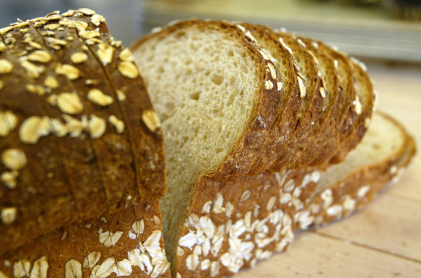 SAN FRANCISCO - NOVEMBER 21 : A loaf of sliced wheat bread is seen on the shelf at the Noe Valley Bakery and Bread Co. November 21, 2003 in San Francisco, California. The popularity of Atkins-style, low carbohydrate diets has contributed to the drop in consumption of bread in the U.S. over the past year as 40 percent of Americans ate less than in 2002. (Photo by Justin Sullivan/Getty Images) While industry leaders said The popularity of Atkins-style low-carbohydrate diets hasnt significantly affected sales for most bakers and suppliers, they said the trend may mean new ways of doing business.